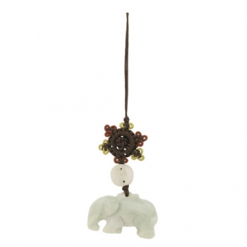 Jade Elephant with Mystic Knot - Mobile phone hanging
