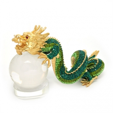 Bejewelled Green Dragon with Crystal Globe