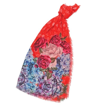 OM Floral Popularity Shawl (Red)