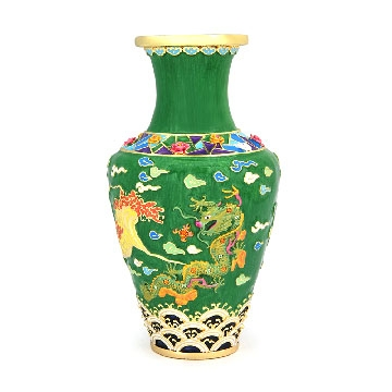 Frolicking Green Dragon Vase