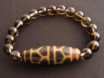 Tortoise Shell Dzi Bead with 8mm Smooth Smoky Quartz